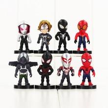 8pcs lot Spiderman Figure Toy Black Spider Man Venom Q Version Model Toy for Children