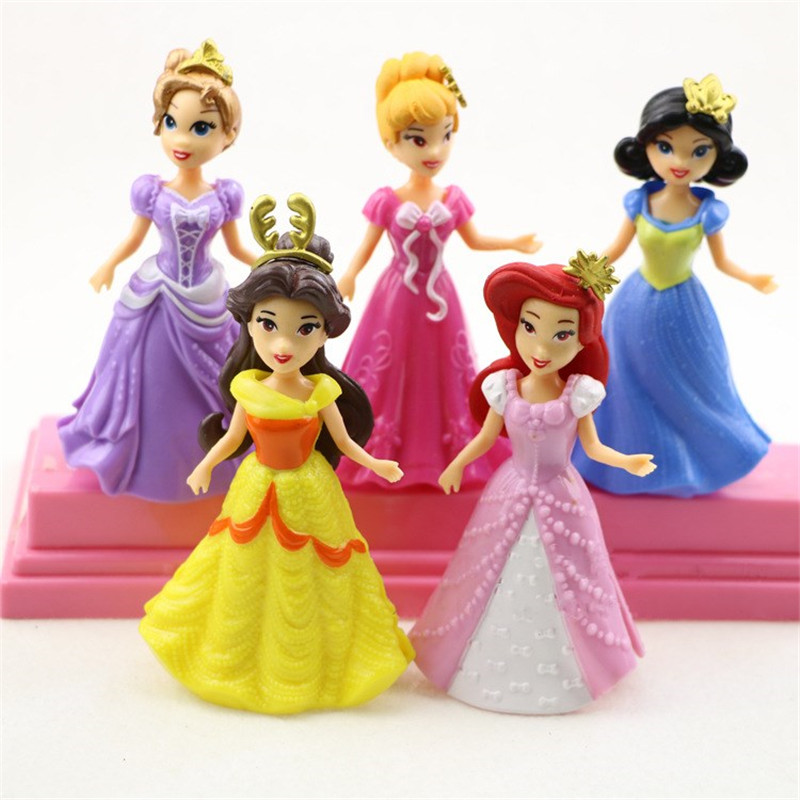 5pcs/set Classic beautiful Princess change clothes dolls PVC Action Figure Doll Dress Can Change Classic Toys Kids Toys For