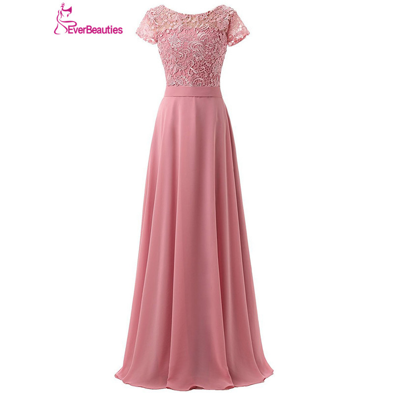 Bridesmaid Dresses Long 2018 Chiffon with Lace Appliqued Cap Sleeves ...