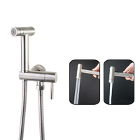 Stainless Steel Single Cold Water Corner Valve Bidet faucets Function square Hand Shower Head Tap Crane 90 Degree Switch
