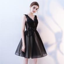 Бисерное Сетчатое платье с v-образным вырезом для выпускного вечера, мини сексуальное кружевное платье с блестками, выпускное черное платье без рукавов, женское Бандажное вечернее платье