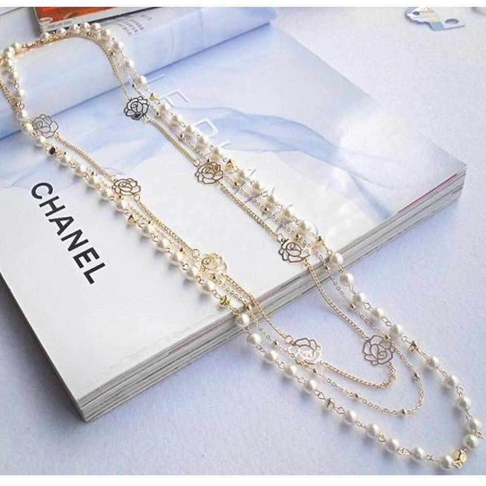 A40 Mignon Chandail A Longue Chaine Pendentif Multicouche Perle
