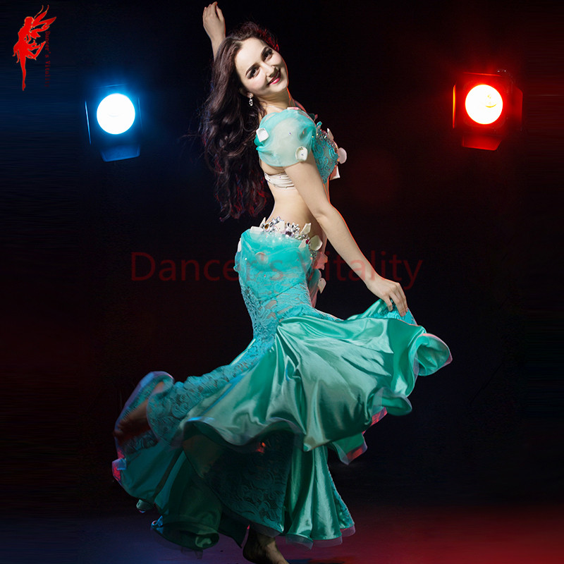 2017 lady Performance belly dancing clothing sexy luxury gils belly dance show set (bra and skirt) 2pcs women belly dance suit