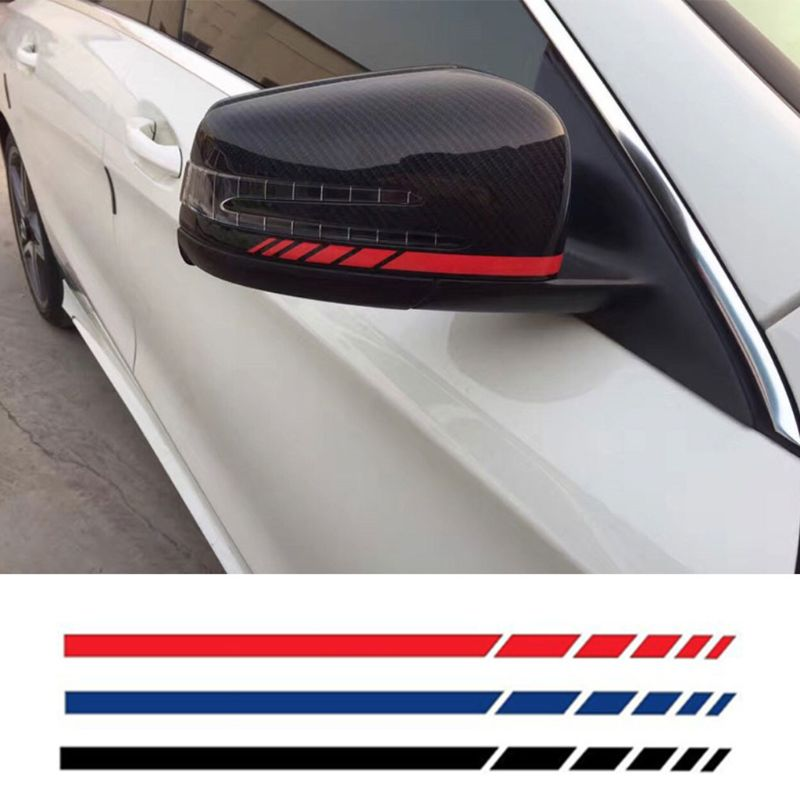 Car Sticker 2sets4pcs Rearview Mirror Side Decal Stripe Vinyl Truck Vehicle Body Accessories 11 Color Optional 20*0.7cm