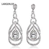 2017 Trendy Long Crystal Earrings Simple Earrings Studs For Women Four Color Pink Zircon Jewelry Earrings