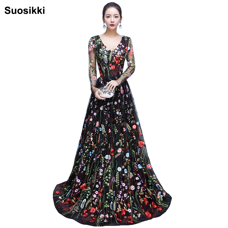 2018 New Design embroidery Evening Dresses long high quality Charming A-line Lace full Sleeves Prom Party Gown robe de soiree(China)