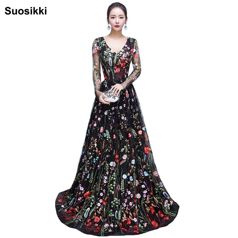 2018 nouveau Design broderie robes de soirée longue de haute qualité charme a-ligne dentelle manches complètes robe de soirée robe de soirée
