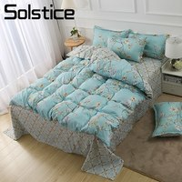 Solstice Home Textile King Queen Full Twin Bedding Set Girl Teen Adult Woman Bed Linens Blue Flower Duvet Cover Pillowcase Sheet