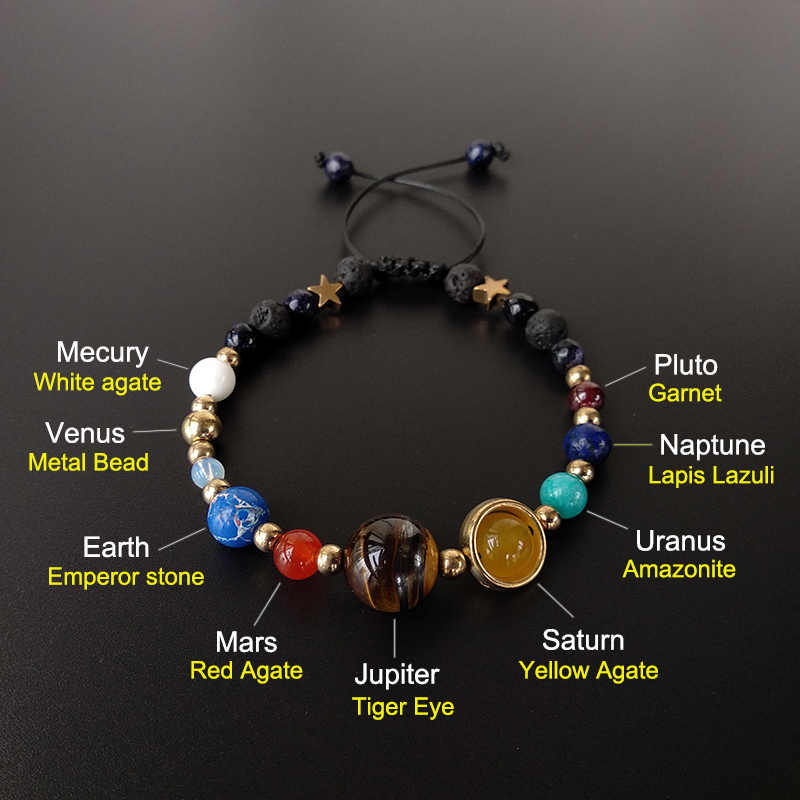 BOEYCJR 9 Planets Add Pluto Universe Bangles & Bracelets Fashion Jewelry Galaxy Solar System Bracelet For Women or Men 2019