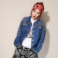 2018 Демисезонный Новый Harajuku Стиль Ковбойская куртка панк Для женщин Свободные Тяжелая Заклепки джинсовая куртка
