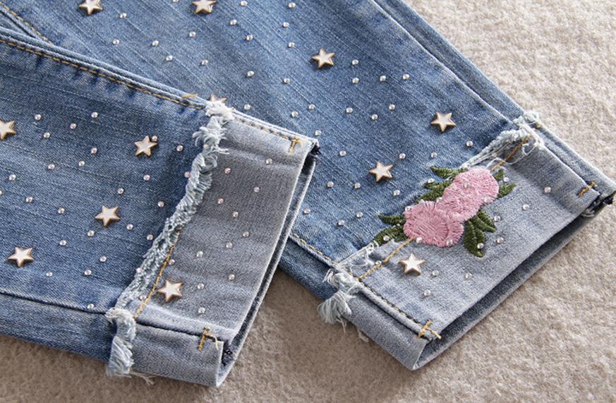 3f8a62e91 Cintura elástica 2018 nova frisada diamante broca buraco calça jeans ...