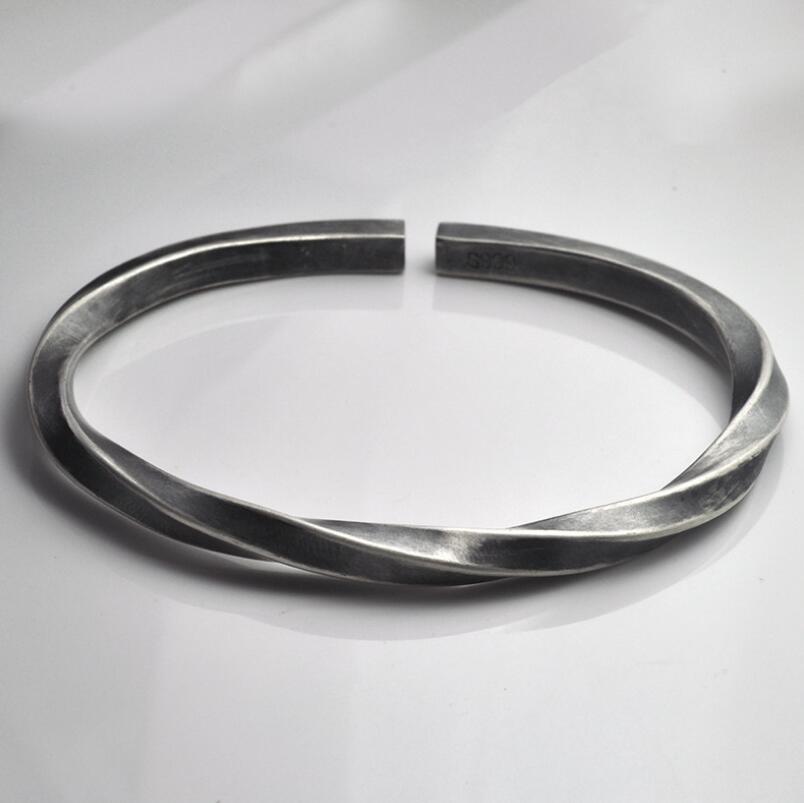 999 sterling silver bracelet vintage handmade old solid men's open bangle (HY)