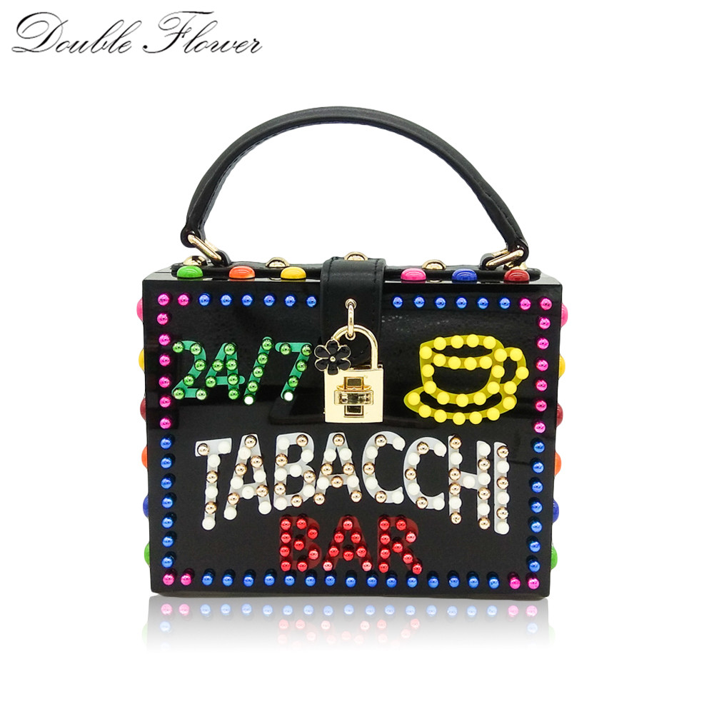 Double Flower TABACCHI BAR LED Banner Letter Beaded Women Acrylic Box Totes Bag Fashion Shoulder Handbag Purse Crossbody Bag 2017 120cm diy metal purse chain strap handle bag accessories shoulder crossbody bag handbag replacement fashion long chains new