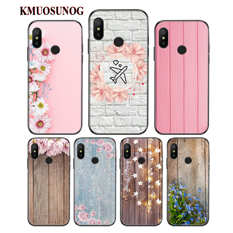 Black Soft Silicone Phone Cases wood on flowers for Xiaomi F1 A1 A2 6 8 Lite Redmi Note 4X S2 5 6 5A 6A Pro