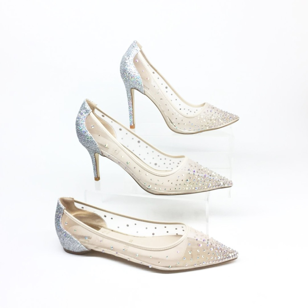 Women bling fashion design women s high heel pumps see through Party  Wedding stiletto shoes thin heels sexy bride shoes Bridal -in Women s Pumps  from Shoes ... ebb7a074d