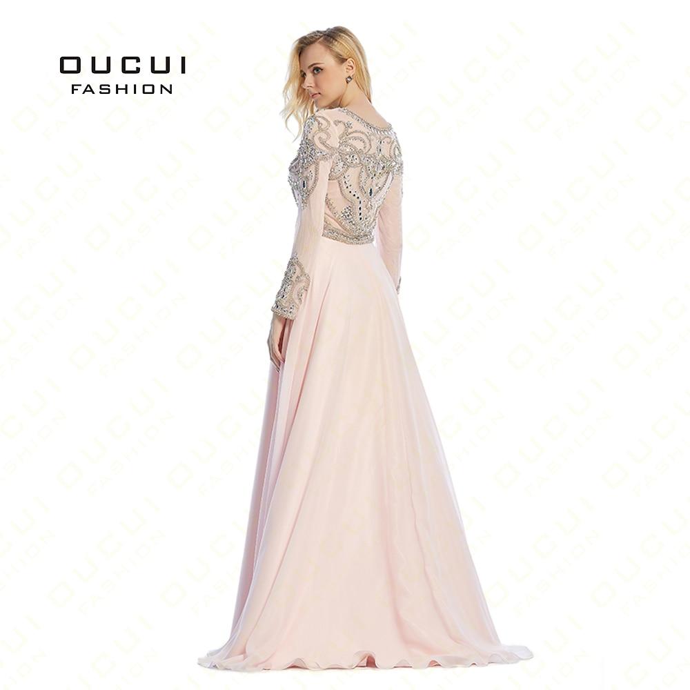 vestido de festa longo Formal Long Sleeves Gown See Through Back Beading Handwork Long Prom Evening