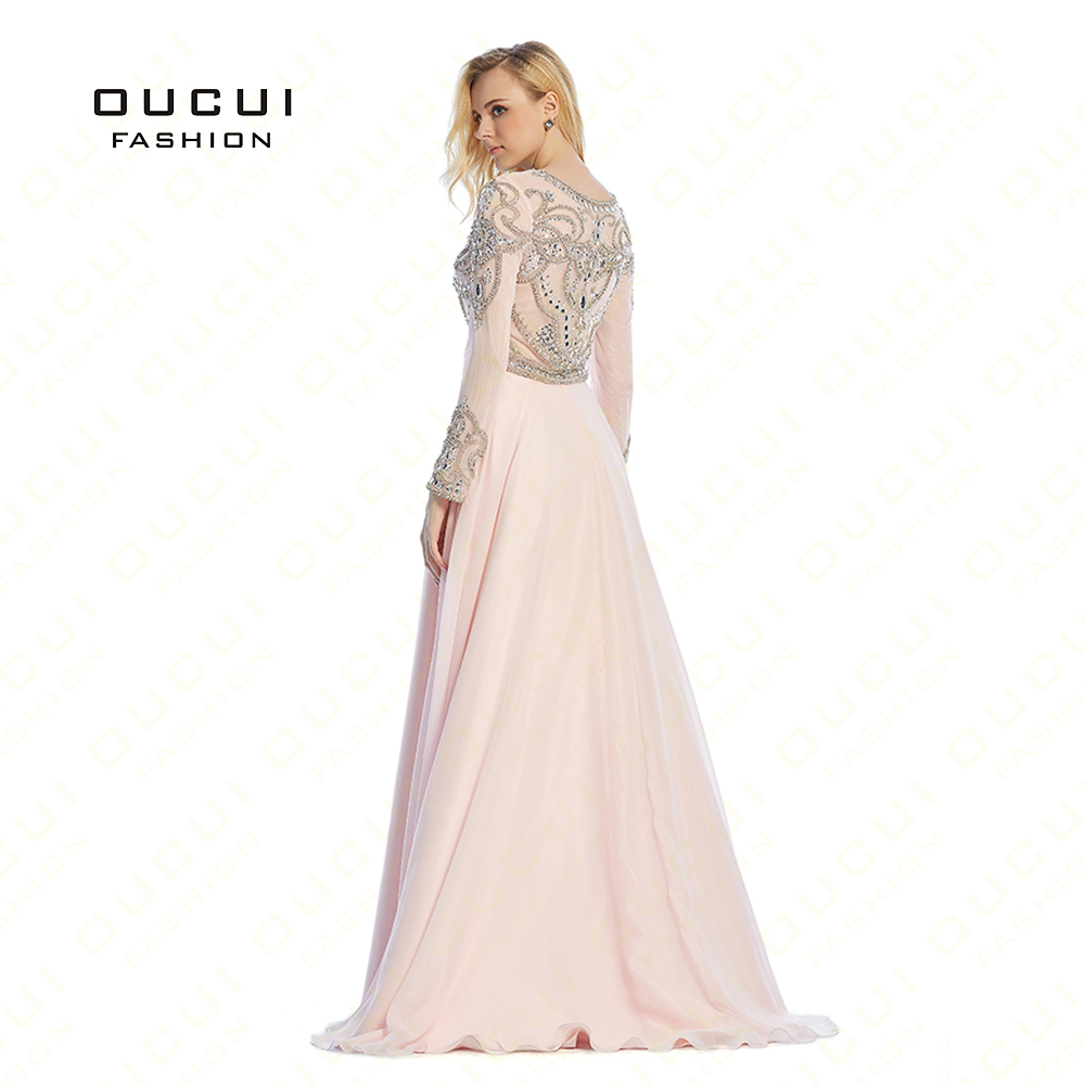 vestido de festa longo Formal Long Sleeves Gown See Through Back Beading Handwork Long Prom Evening