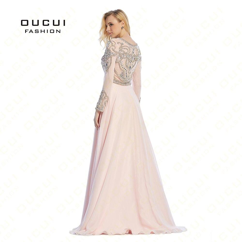 vestido de festa longo Formal Long Sleeves Gown See Through Back Beading Handwork Long Prom Evening Dresses OL102352D