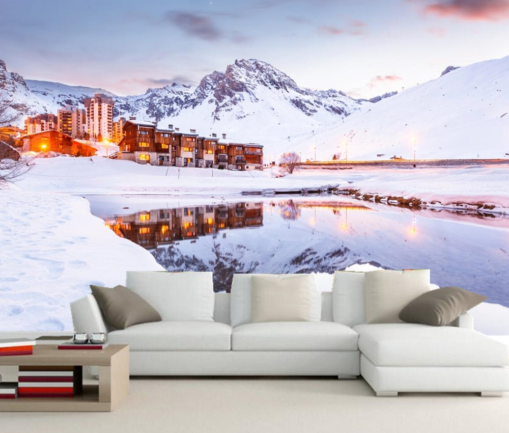 Mountains Winter  Snow Alps ciyt Nature photo wallpaper. living room tv sofa wall bedroom restaurant wall 3d photo wallpapers custom 3d murals forests trees rays of light tree nature photo wall living room sofa tv wall bedroom restaurant wallpapers