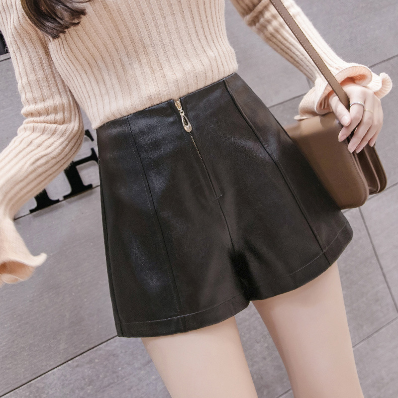 Sexe Mara High Waisted Zipper Fly Skinny Women Leather Booty Shorts Solid Casual Winter Warm Shorts Moto Biker Short Mujer
