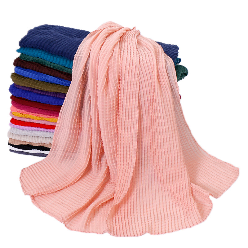Solid color crinkle hijab women cotton scarf fashion plaid shawl muslim hijabs wrap head scarves soft