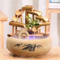 Waterwheel Geomantic wheel Bamboos Circulating water transferring windmill fittings Home furnishings for home furnishings