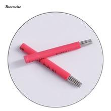 Microblade Needles 안개 눈썹 마이크로 블레이드 용 수동 바늘 영구 메이크업 용 17Round 바늘 50pcs 무료 배송