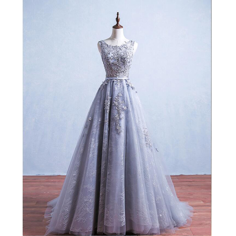 Simple Gray Sheer Neck Beading Lace Vestidos De Festa Sequins Backless A-line Long   Prom     Dresses   Formal Robe De Soiree Party Gown