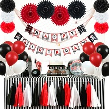 20pcs Black Red Pirate Theme Birthday Party Decoration Set Happy Banner Paper Fans Latax Balloons Tassel Garland
