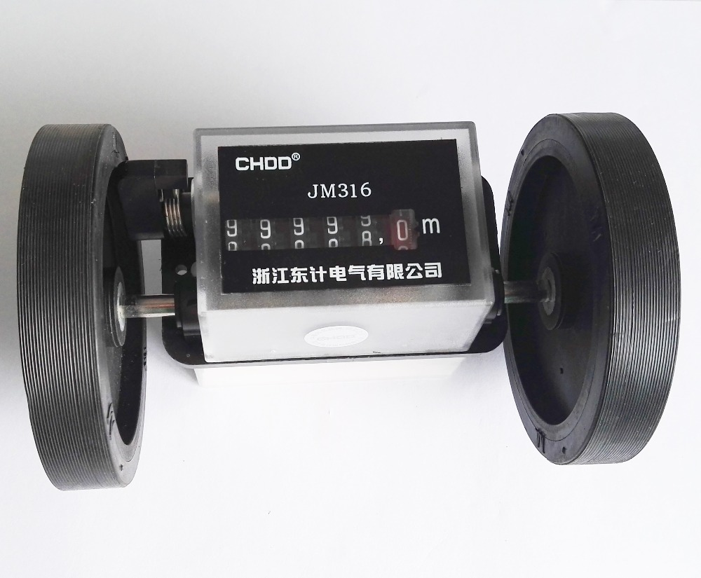 цена на JM316 Roller wheel mechanical counter meter textile printing artificial leather plastic film length record counter