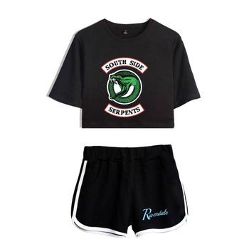 Women Two Piece Outfits Riverdale Southside Serpents Two Piece Set Top and Pants Tracksuit Summer Print Women Sets Clothes Top