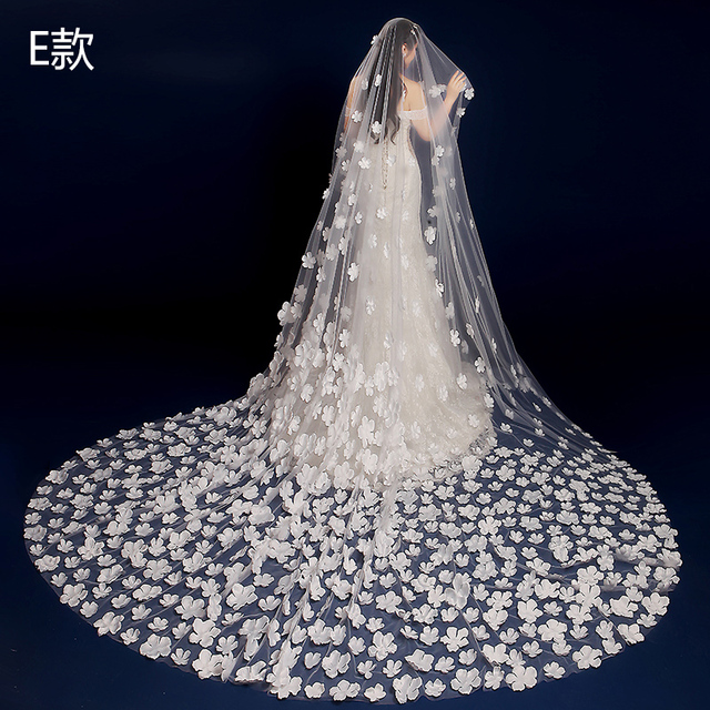 Free Shipping Long Wedding Veils With Appliques 3M White Tulle Accessories Veu De Noiva Longo Com Renda Women Bridal Gowns
