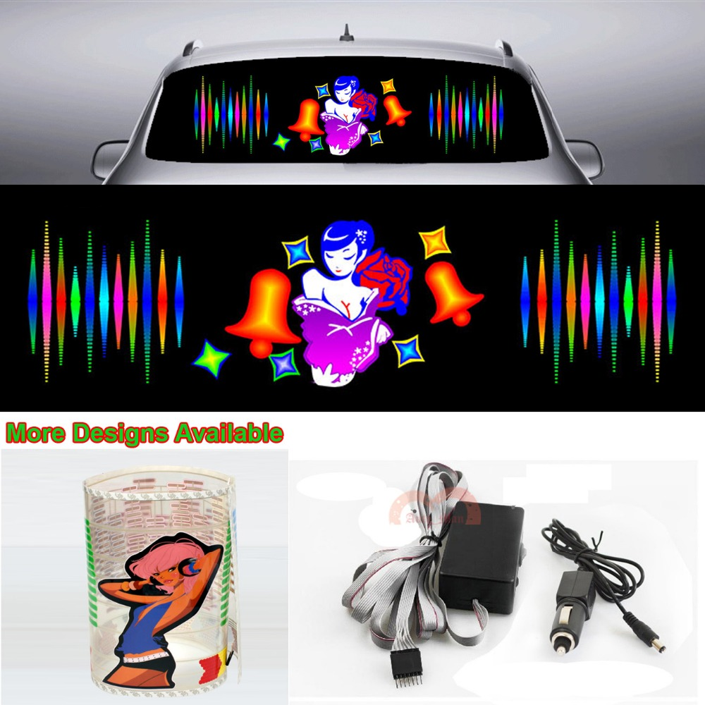 Rose Beauty Girl Car Sticker Music Rhythm Flash Light Sound Activated Equalizer 90cm*25cm 35.4in*9.84in infant shining swing car mute flash belting leather music environmental quality children s toy car