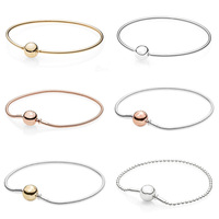 Rose Gold Ball Clasp ESSENCE COLLECTION Beaded Bracelet Fit Pandora Snake Chain Bracelet Bangle 925 Sterling