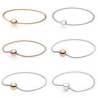 Rose Gold Ball Clasp ESSENCE COLLECTION Beaded Bracelet Fit Pandora Snake Chain Bracelet Bangle 925 Sterling