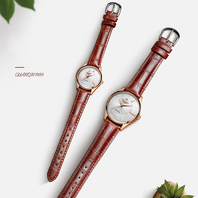 GUANQIN oro rosa para mujeres y hombres, reloj de cuarzo de negocios, reloj de pulsera de lujo para damas, reloj de pulsera para mujeres, reloj femenino - 4