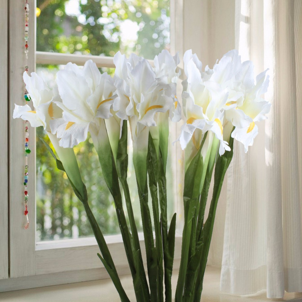 5pcs white iris artificial flower decorative fake flowers display 5pcs white iris artificial flower decorative fake flowers display silk flower for home wedding decoration in artificial dried flowers from home garden mightylinksfo