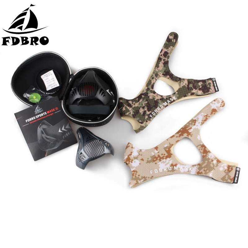 FDBRO Sports Mask Elevation Running Fitness Pack Style Black High Altitude Training Fit Sports Mask 2.0 Mask Cloth Free Shipping fdbro sport mask outdoor men and women sports masks for good quality training sport fitness mask 2 0 eva package with box free