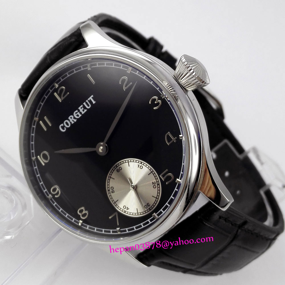 44mm Corgeut watch black dial with silver sub-dial stainless steel PVD case 6498 Mechanical Hand Wind movement men's watch P182 купить недорого в Москве