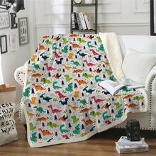 Dinosaur Blanket Plush Throw Cartoon Sofa Noble Animal Print Bedding Sherpa Blankets
