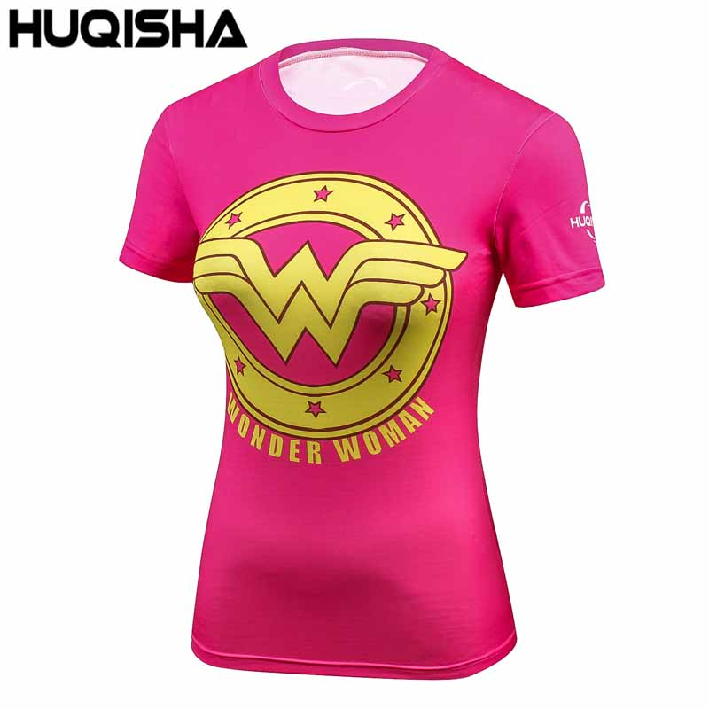 Damen DC Comics Marvel Batman/Wunder frauen Fitness T-shirt Mädchen Bodybuilding Kompression Strumpfhosen Tees Tops