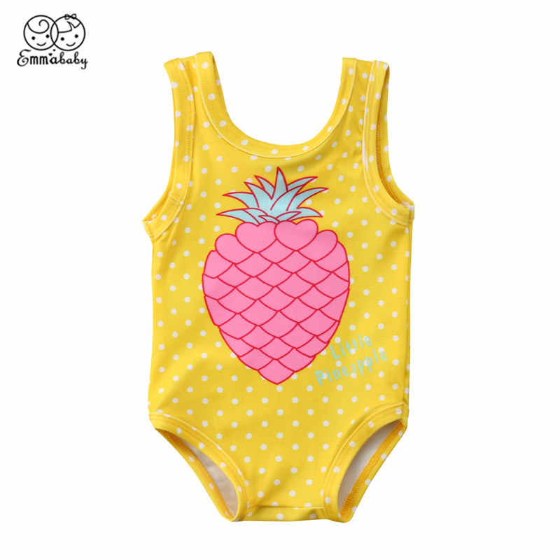 242ad159634e8 Fashion Toddler Baby Girl Swimming Clothes Cartoon Pineapple Printed  Swimwear Sleeveless One Piece Sunsuit Bathing Suit