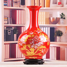 Jingdezhen ceramic vase ornaments Chinese red peony vase living room floor decoration wedding gift