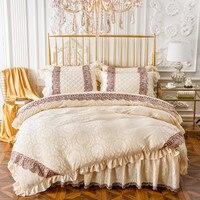 Lüks 4 Adet Ikiz/Tam/Kraliçe Yorgan Set Yatak Seti Yüksek Kaliteli Flanel Nevresim Yatak Etek yastık