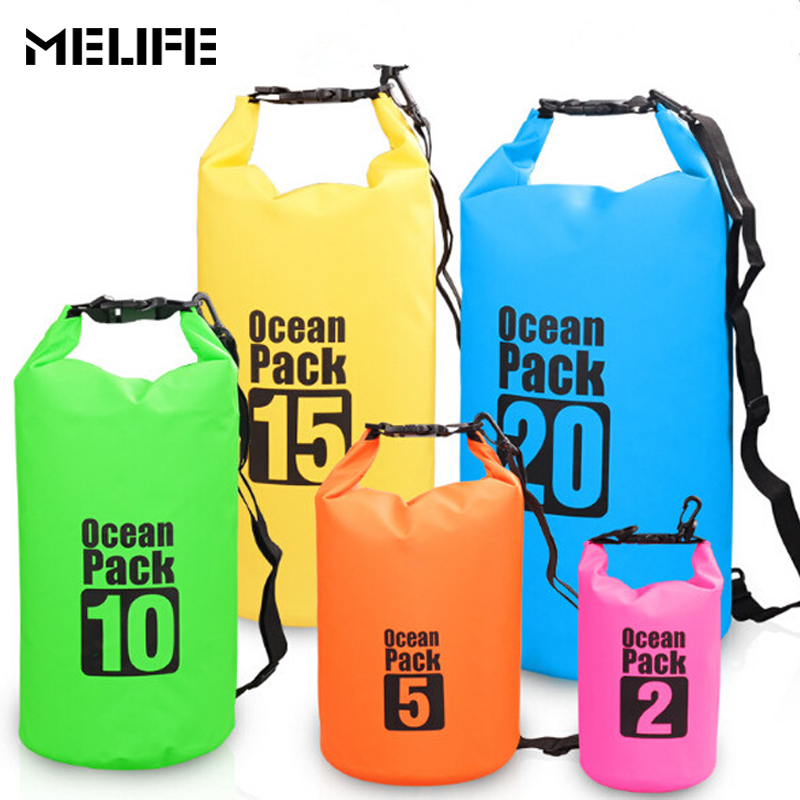 MELIFE 6 farbe 2-15L Im Freien Wasserdichte Schwimmen Taschen Camping Rafting Lagerung Trocken Tasche Unisex Kajak Tauchen Kanu Ozean Pack