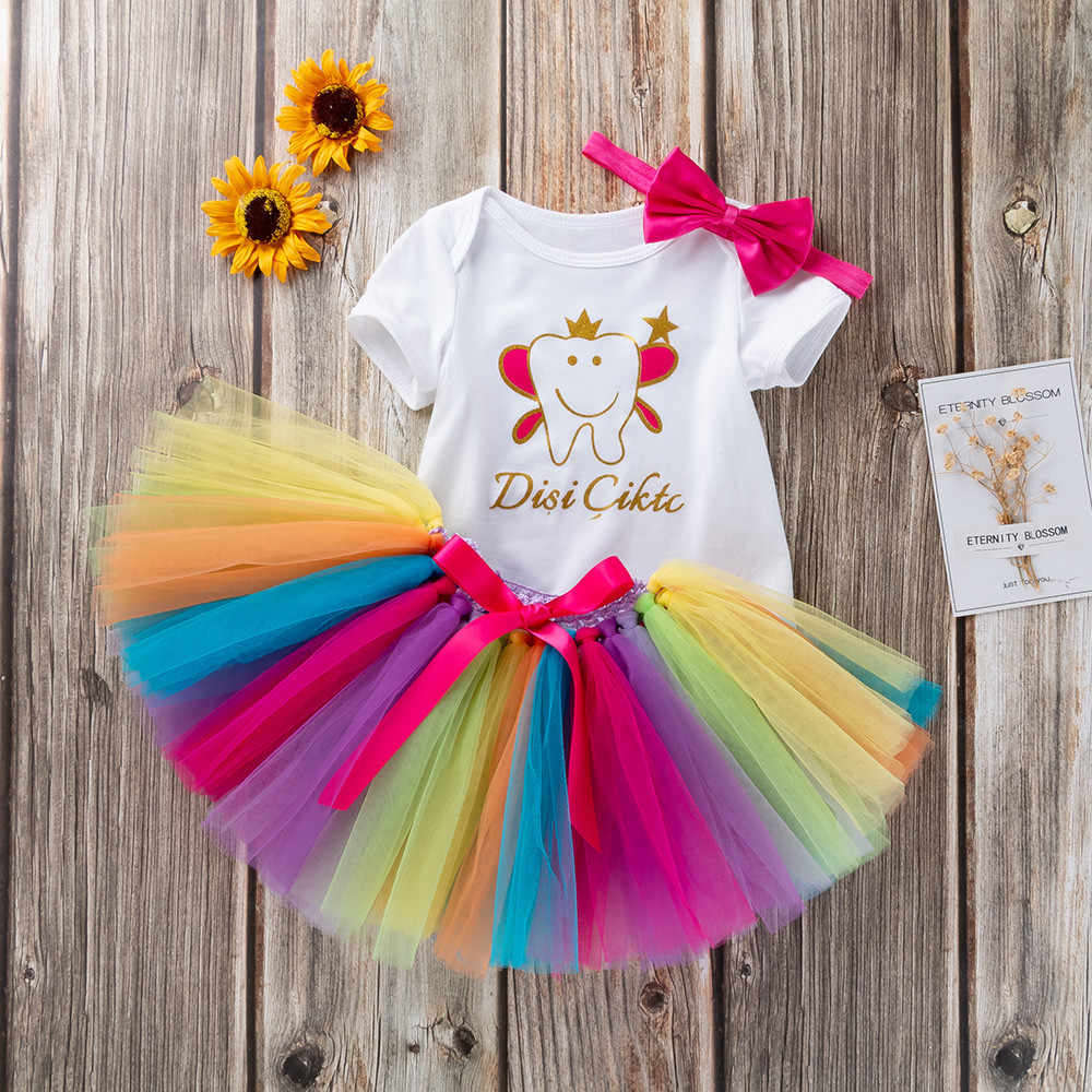 Niño recién nacido niñas carta mameluco + Arco Iris Tutu vestido ropa conjunto niños vestidos para niñas traje Fille Dropshipping. exclusivo. Mar22