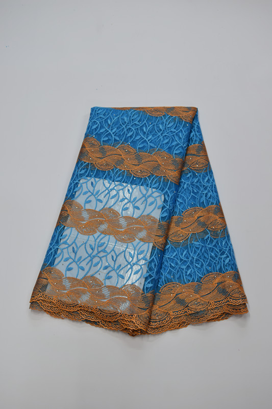 Tissu africain brodé de dentelle de maille tissu français de dentelle de filet 5yds/pc pour la robe de mariée 16. A20 - 5
