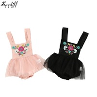2017 New Arrival Baby Girls Embroidered Rompers Clothing Sets For Girl Sleeveless Romper With Lace See