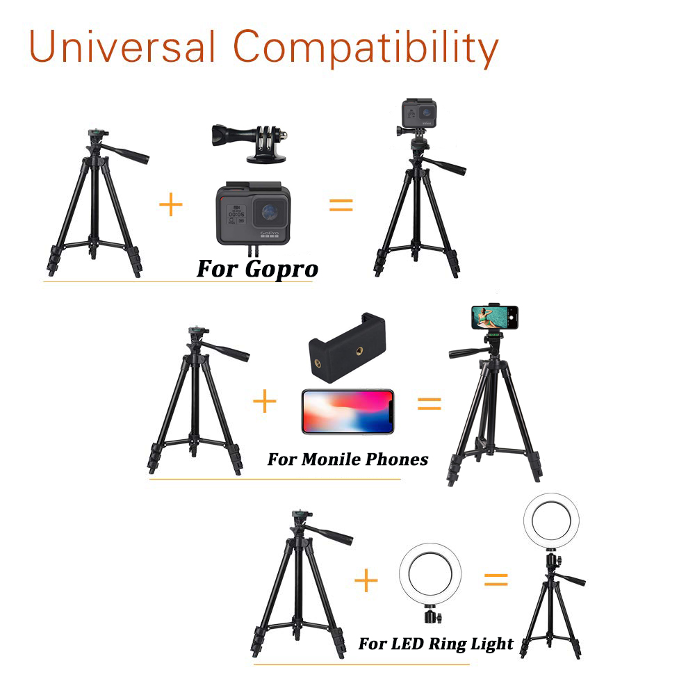 Mobile Phone Tripod Stand 40inch Universal Photography for Gopro iPhone Samsung Xiaomi Huawei Phone Aluminum Travel Tripode Para 2