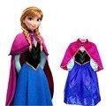 Nuevas muchachas al por menor 2017 del vestido Elsa & Anna princesa viste el vestido de cumpleaños de los niños vestido de la manera de Europa y América